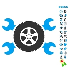 Tire service flat icon with bonus vector
