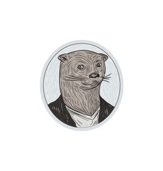 Otter Head Blazer Shirt Oval Drawing vector image