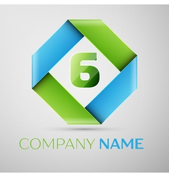 Number six logo symbol in the colorful rhombus vector