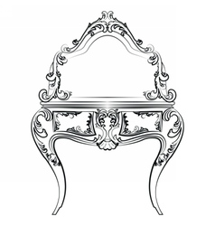 Dressing table with mirror in baroque style vector