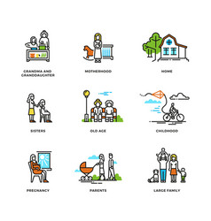 family life marriage and love childhood and old vector image