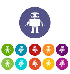 robot with big eyes icons set flat vector image