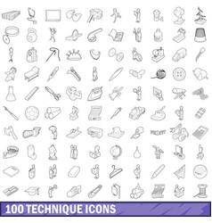 100 technique icons set outline style vector