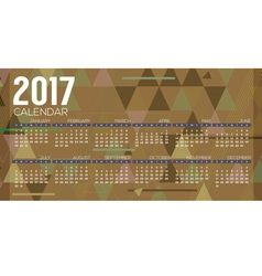 2017 Printable Calendar Starts Sunday Geometric vector image vector image