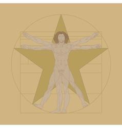 Vitruvian Man Leonardo da Vinci vector image