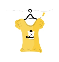 Top on hangers with funny bear design vector