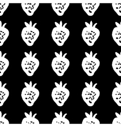 Seamless pattern of strawberries painted by hand vector