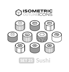 Isometric outline icons set 25 vector