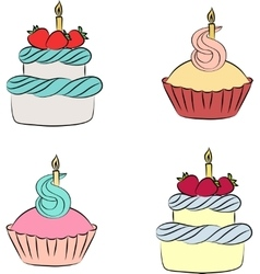 Colorful cream cupcake and cake with berry vector