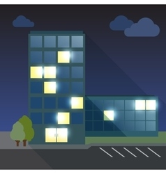 Office building flat with long shadow vector