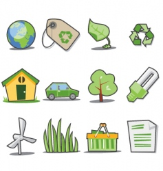 Green icons fresh collection vector