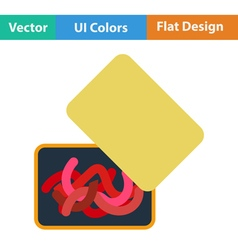 Flat design icon of worm container vector