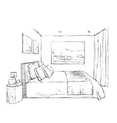 Hand drawn bedroom interior sketch vector