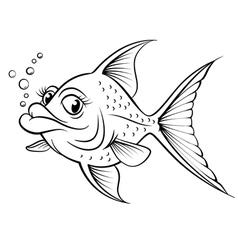 Cartoon drawing fish vector image