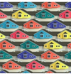 Seamless town pattern with bright house facade vector