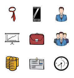 businesscenter icons set cartoon style vector image vector image
