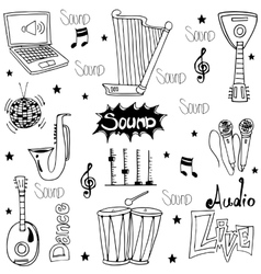 Doodle of trditional music tools vector image