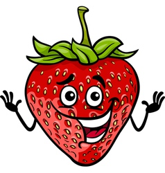funny strawberry fruit cartoon vector image vector image