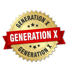 generation x round isolated gold badge vector image vector image