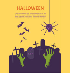 halloween banner tomb stone zombie hand from vector image vector image