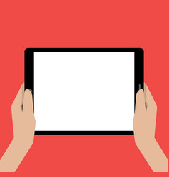 Hands holing tablet computer with a white screen vector