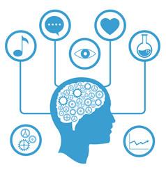 Head brain gear information media vector