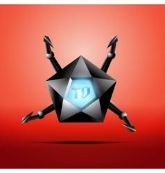 Hexagonal screen tv with metal tentacles vector