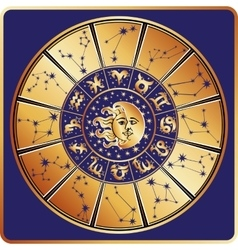 Horoscope circlezodiac sign with constellations vector