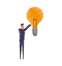 Man and lightbulb idea icon image vector