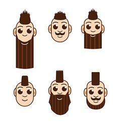 Mohawk hairstyle set hipster vector