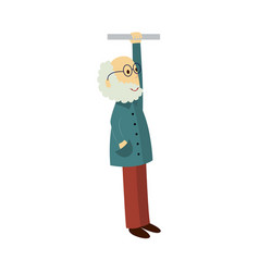 Old man in glasses holds the handrail vector