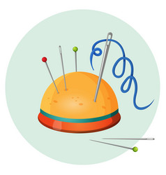 pincushion with needles and pins or thimbles vector image vector image