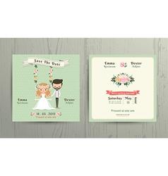 Rustic wedding cartoon bride and groom couple vector image vector image
