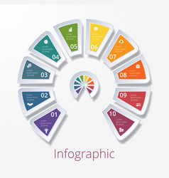 Semicircle diagram with ten multicolored elements vector
