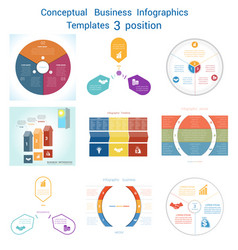 Set infographics conceptual cyclic processes vector
