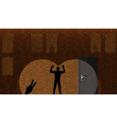 Silhouette of the person on a wall vector image vector image