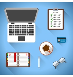 Top view on business workplace vector
