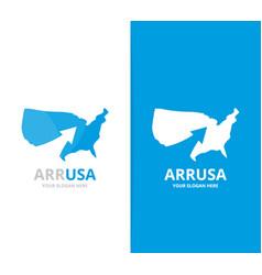 usa and arrow up logo combination vector image