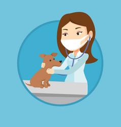 veterinarian examining dog vector image vector image