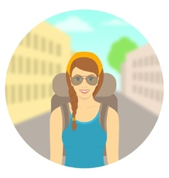 Young woman tourist with a backpack on city vector