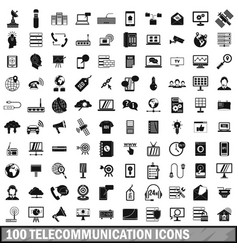 100 telecommunication icons set simple style vector