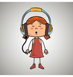 Girl kid headphones music icon vector