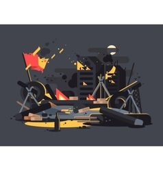 Barricades on fire vector image