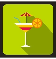 Martini glass of cocktail with umbrella icon vector