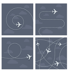 Plane flight with dotted trace of the airplane vector