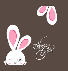 Happy easter rabbit with ear background 2017128 vector