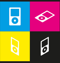 portable music device  white icon with vector image