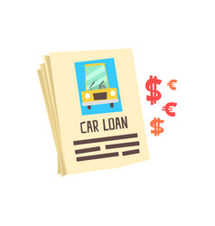 Car loan application form colorful cartoon vector