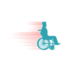 Disabled person in chair wheelchair travelling fas vector image