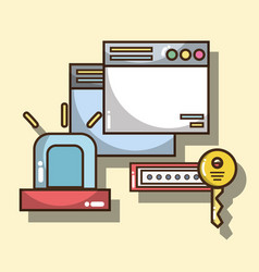 Technology windows with alarm and password with vector